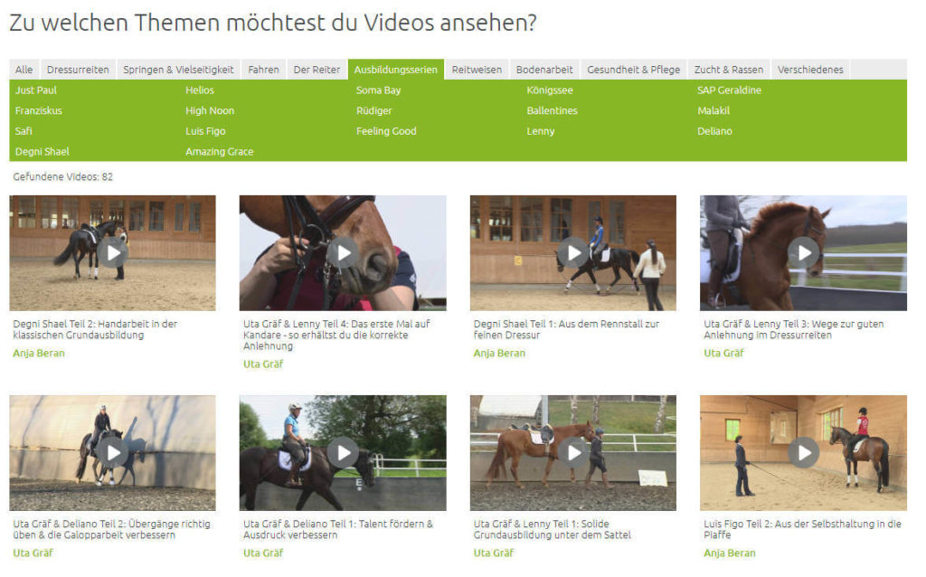 Wehorse Video-Auswahl