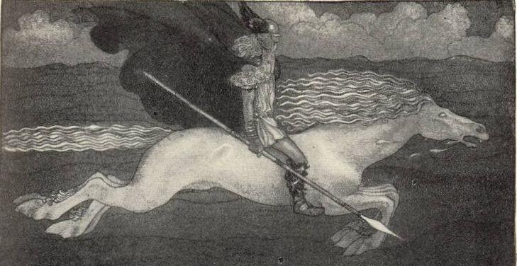 Göttervater Odin auf seinem berühmten Ross Sleipnis - Gemalt von John Bauer